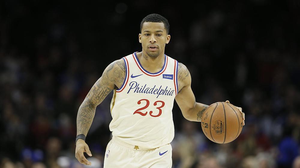 Philadelphia 76ers' Trey Burke plays during an NBA basketball game against the Washington Wizards, Saturday, Dec. 21, 2019, in Philadelphia. (AP Photo/Matt Slocum)