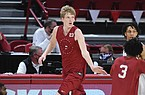 Arkansas forward Connor Vanover (23) runs down the court, Thursday, November 12, 2020, during the Red-White intrasquad basketball game at Bud Walton Arena in Fayetteville. Check out nwaonline.com/201113Daily/ for the photo gallery.