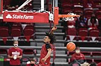Arkansas guard Jalen Tate (11) dunks, Thursday, November 11, 2020 during the Red-White instrasquad basketball game at Walton Arena in Fayetteville. Check out nwaonline.com/201113Daily/ for the photo gallery.
