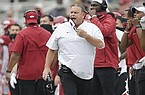 Arkansas coach Sam Pittman yells from the sideline during a game against LSU on Saturday, Nov. 21, 2020, in Fayetteville.