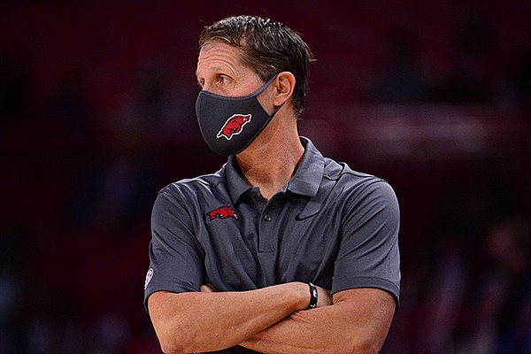 Arkansas coach Eric Musselman is shown during a game against Mississippi Valley State on Wednesday, Nov. 25, 2020, in Fayetteville.