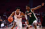 Arkansas' Moses Moody (5) is guarded by Mississippi Valley State's Kam'Ron Cunningham (2) during a game Wednesday, Nov. 25, 2020, in Fayetteville.