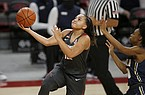 Arkansas guard Destiny Slocum goes for a layup during a game against Oral Roberts on Wednesday, Nov. 25, 2020, in Fayetteville.