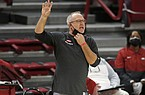 Arkansas coach Mike Neighbors is shown during a game against Oral Roberts on Wednesday, Nov. 25, 2020, in Fayetteville.