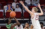 Arkansas' Connor Vanover (23) attempts to block a shot by North Texas' Jalen Jackson during a game Saturday, Nov. 28, 2020, in Fayetteville.