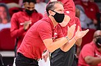 Arkansas coach Eric Musselman is shown during a game against Texas-Arlington on Wednesday, Dec. 2, 2020, in Fayetteville.