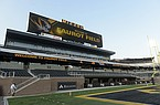 Faurot Field is quiet before the arrival of teams and limited fans for the start of an NCAA college football game between LSU and Missouri on Saturday, Oct. 10, 2020, in Columbia, Mo. (AP Photo/L.G. Patterson)