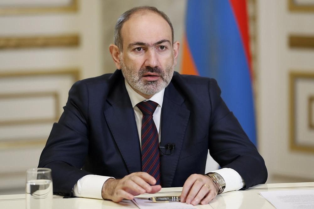 Armenian Prime Minister Nikol Pashinian addresses the nation Saturday in Yerevan, Armenia.