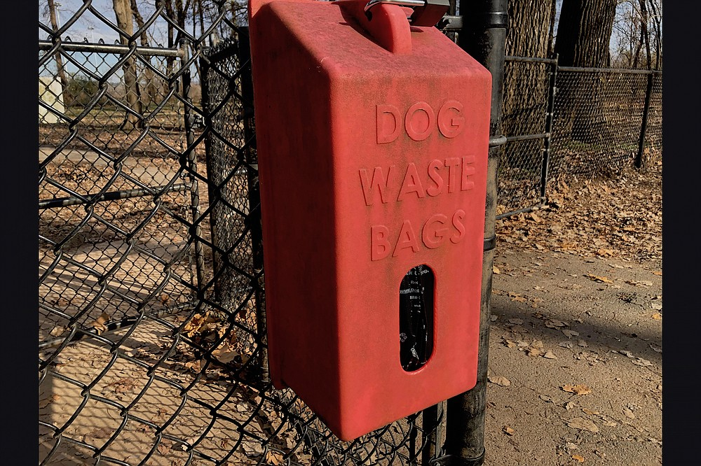 Little Rock Parks and Recreation provides litter bags at its two dog parks, and helpful park patrons contribute to the supply, users say. (Arkansas Democrat-Gazette/Celia Storey)