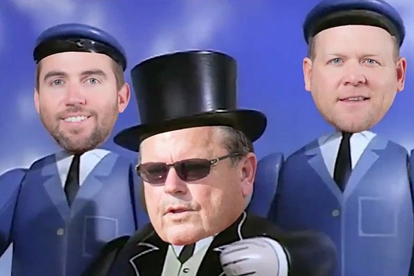 Arkansas head coach Sam Pittman, defensive coordinator Barry Odom and offensive coordinator Kendal Briles are depicted as train conductors in a video put out by the Arkansas football account after the Razorbacks 33-21 win over Ole Miss.