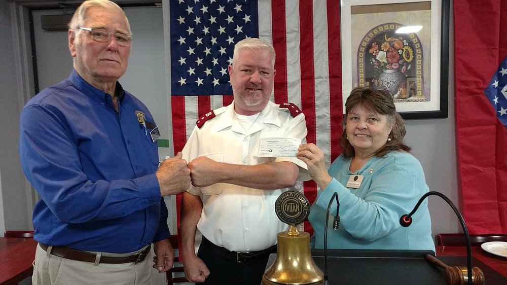 Capt. Jason Perdieu, corps officer for the Salvation Army, spoke recently at a meeting of the Civitan Club. Pictured from left are Frank Hash, Civitan president; Perdieu; and Janelle Williams, Civitan president-elect.