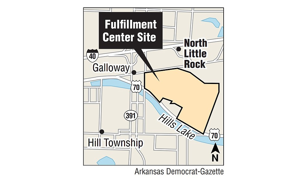 This map shows the location of the planned Amazon.com Inc. fulfillment center in North Little Rock.