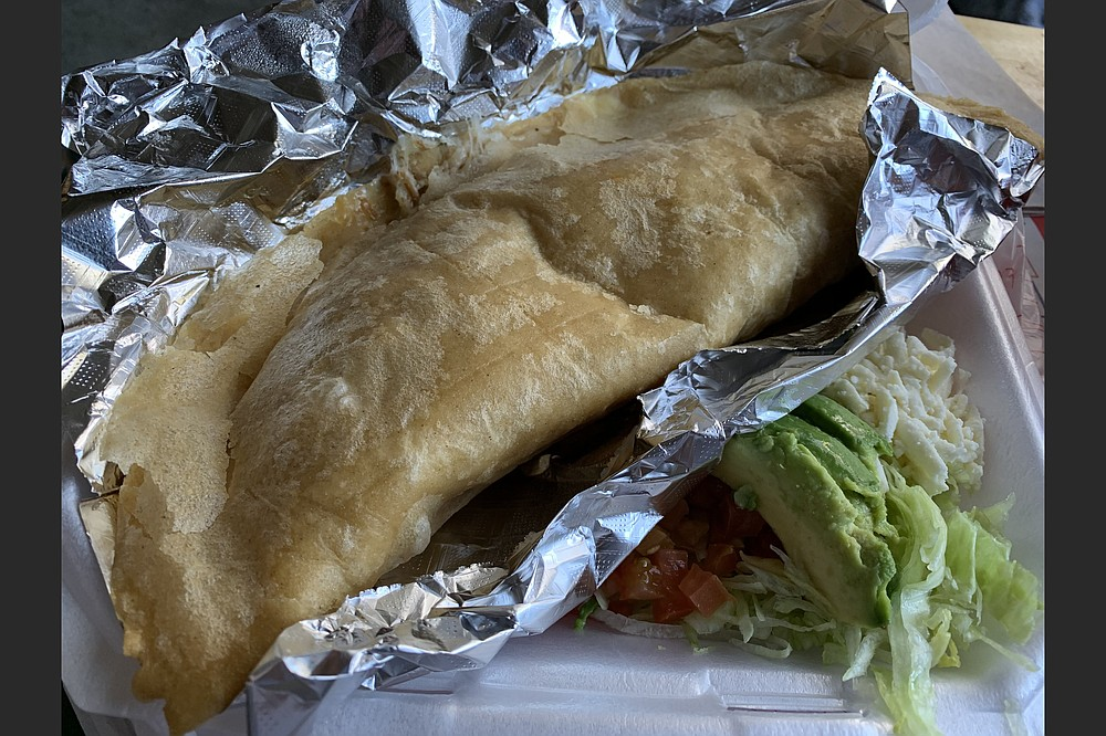 We could have fed two on the fried carnitas quesadilla on a corn tortilla from Tortas Mexico in North Little Rock. (Arkansas Democrat-Gazette/Eric E. Harrison)
