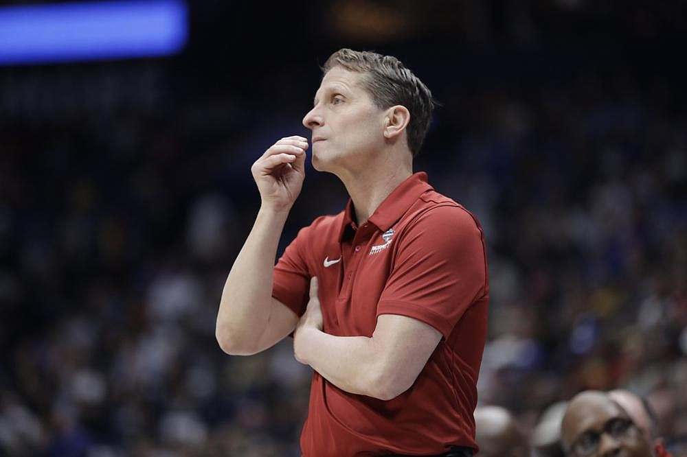Coach Eric Musselman had to break the news empty after men's basketball games were canceled at the  SEC Tournament to his team before their second-round game.  (AP/Mark Humphrey)