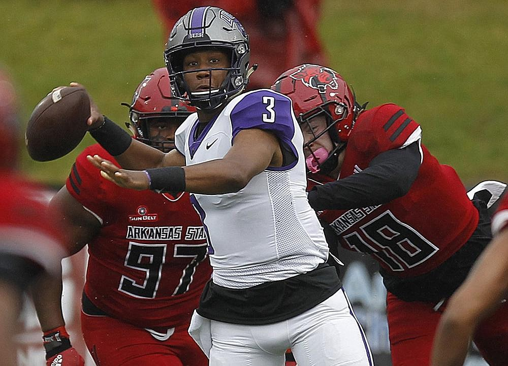 Quarterback Breylin Smith and the University of Central Arkansas football team took advantage of the opportunity to play a nonconference schedule this fall after the Southland Conference gave its 13 member institutions the option to do so. The Southland decided to postpone fall sports in favor of a spring schedule because of the coronavirus pandemic. (Arkansas Democrat-Gazette/Thomas Metthe)