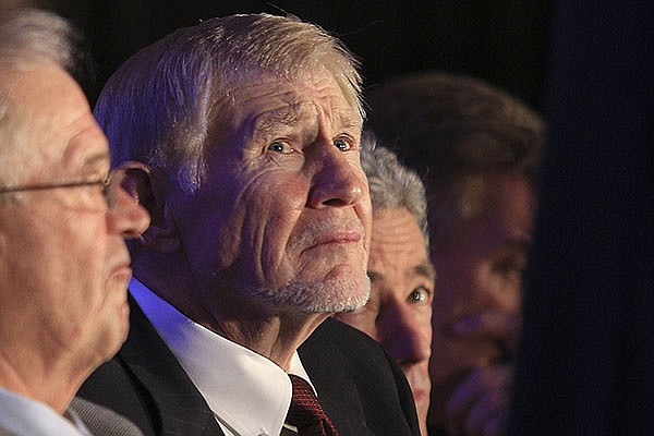 Former Arkansas football player Loyd Phillips is shown during the Southwest Conference Hall of Fame induction ceremony on Monday, Nov. 10, 2014, in Little Rock.