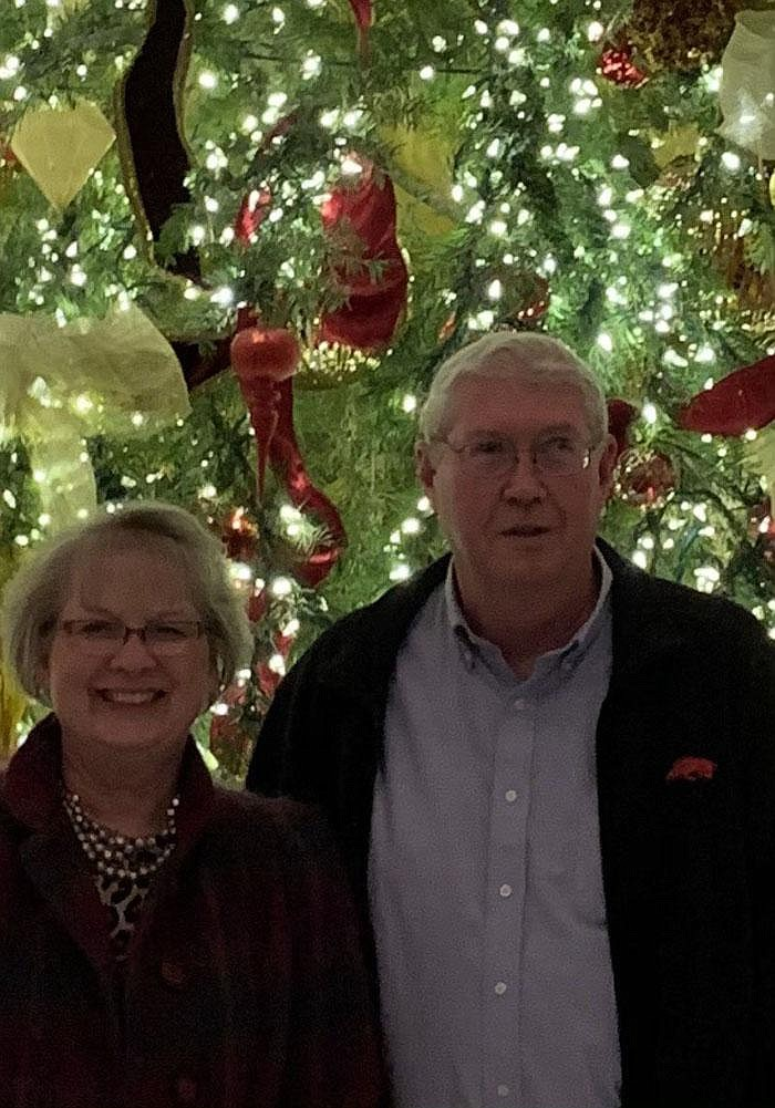 """Roz and Kevin Newton had their picture taken last year at the Capital Hotel in downtown Little Rock. They had hoped to celebrate their 50th anniversary there today. """"This covid put a stop on everything,"""" Kevin says. They will have dinner together at home instead. (Special to the Democrat-Gazette)"""