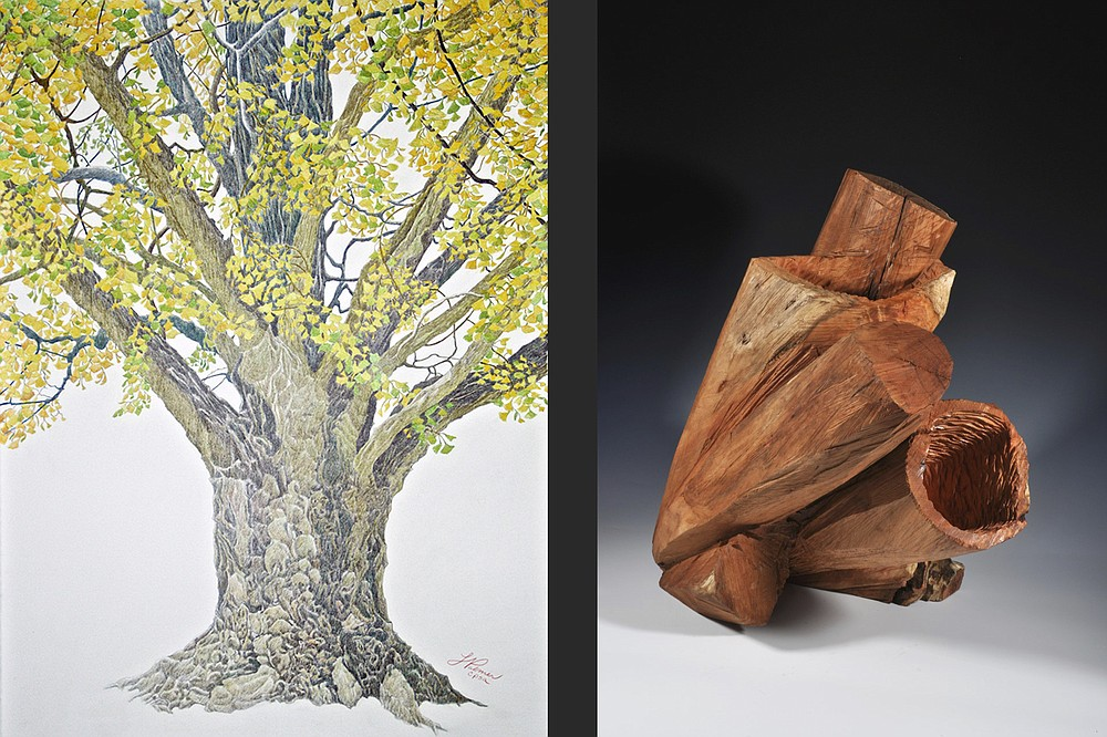 """""""An Aged Champion: Ginkgo"""" by Linda Williams Palmer and """"Colony"""" by Sandra Sell go on display Jan. 1 at Justus Fine Art Gallery in Hot Springs. (Special to the Democrat-Gazette)"""