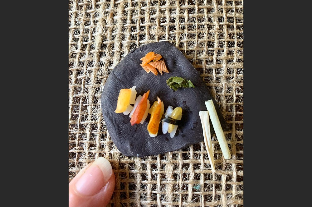 """The elaborate concoctions Angela Hansberger makes included a platter of """"sushi."""" (Photo courtesy Angela Hansberger)"""