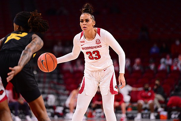 Arkansas guard Chelsea Dungee (33) is shown during a game against Missouri on Sunday, Jan. 3, 2021, in Fayetteville.