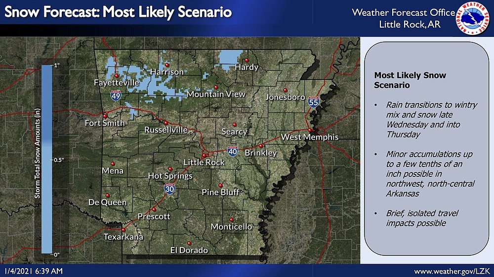 This National Weather Service graphic shows snow predicted for portions of north Arkansas through Friday.