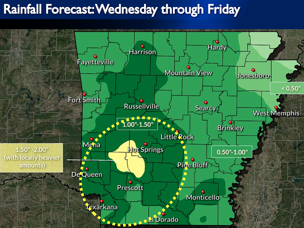 Forecasts from the National Weather Service show heavy rainfall expected to begin Wednesday across the state.