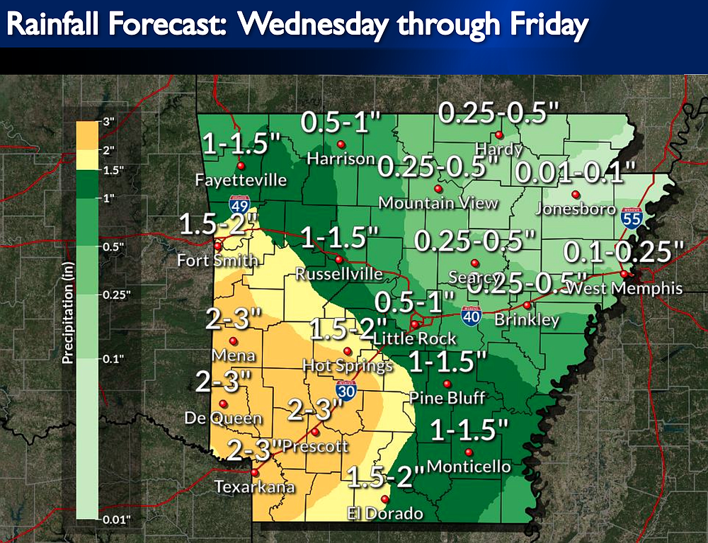 Forecasters predict heavy rainfall across the state Wednesday into Thursday, according to this National Weather Service graphic.