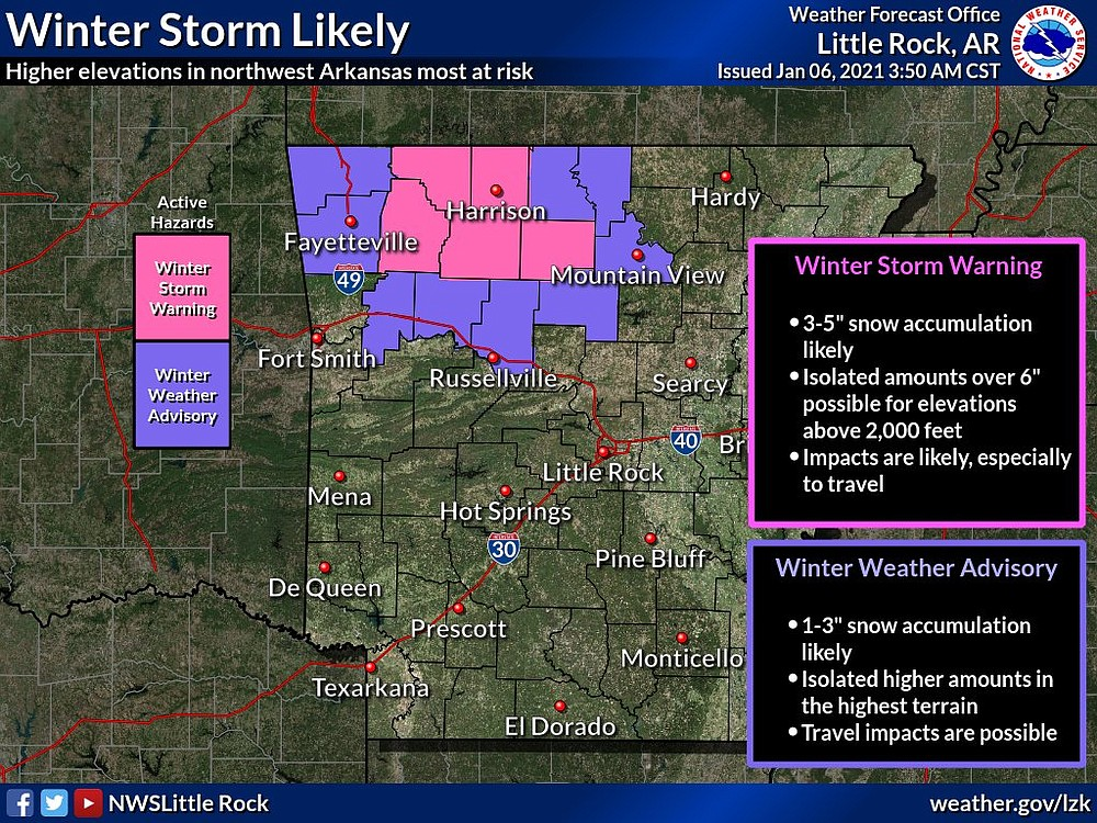This National Weather Service graphic shows sections of Northwest Arkansas will be under a winter storm warning and winter weather advisory Wednesday evening through Thursday.