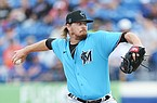 Miami Marlins' Ryne Stanek pitches during a spring training baseball game against the New York Mets on Saturday, Feb 22, 2020, in Port St. Lucie, Fla. The Marlins won 5-3. (AP Photo/Vera Nieuwenhuis)