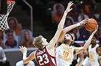 Tennessee forward John Fulkerson (10) shoots against Arkansas' Connor Vanover (23) during an NCAA college basketball game Wednesday, Jan. 6, 2021, in Knoxville, Tenn. (Saul Young/Knoxville News Sentinel via AP, Pool)