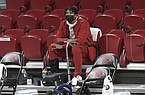 Arkansas guard Khalen Robinson is shown prior to a game against Georgia on Saturday, Jan. 9, 2021, in Fayetteville.