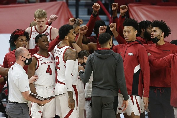 Arkansas players prepare to play, Saturday, January 9, 2021 during the first half of a basketball game at Bud Walton Arena in Fayetteville. Check out nwaonline.com/210110Daily/ for today's photo gallery.
