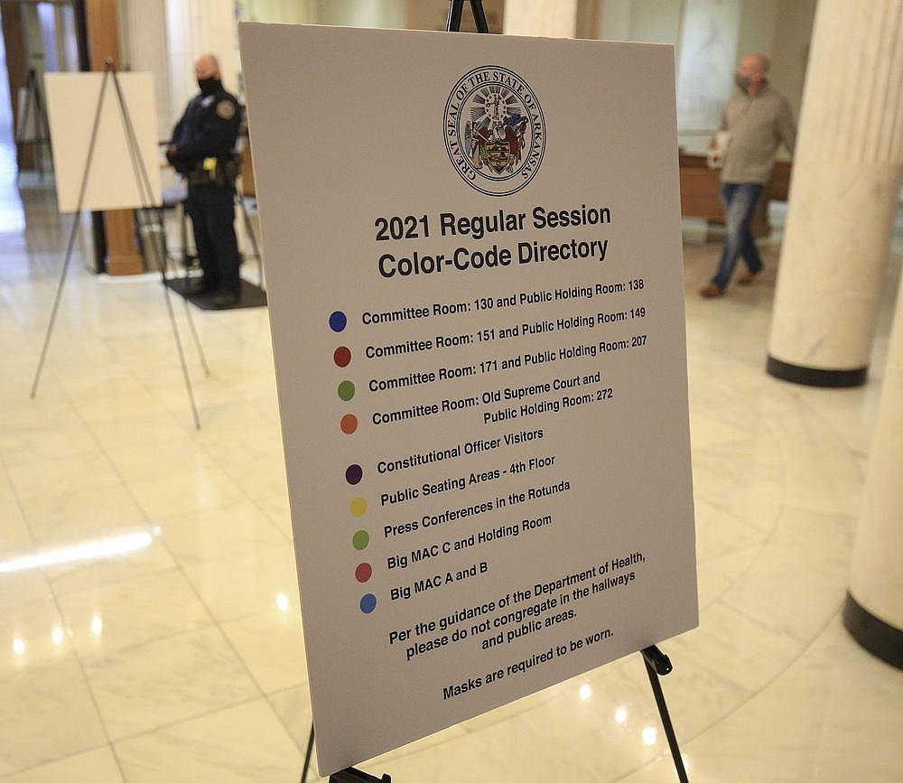 The locations of committee rooms and holding areas are designated by color coding at the state Capitol on Friday. The House will have 78 Republicans and 22 Democrats. The Senate will have 28 Republicans and seven Democrats. (Arkansas Democrat-Gazette/Staton Breidenthal)