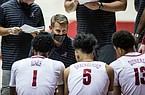 Alabama head coach Nate Oats works with his team during a timeout during the second half of an NCAA college basketball game against Western Kentucky, Saturday, Dec. 19, 2020, in Tuscaloosa, Ala. (AP Photo/Vasha Hunt)