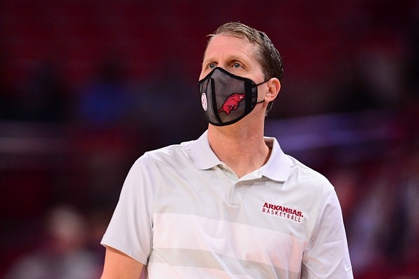 Arkansas coach Eric Musselman looks toward play on the court during a game against Georgia on Jan. 9, 2021, at Bud Walton Arena in Fayetteville.