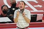 Arkansas head coach Eric Musselman reacts, Saturday, January 9, 2021 during the second half of a basketball game at Bud Walton Arena in Fayetteville. Check out nwaonline.com/210110Daily/ for the photo gallery.