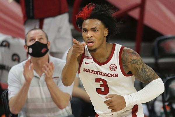 Arkansas guard Desi Sills (3) reacts, Saturday, January 9, 2021 during the second half of a basketball game at Bud Walton Arena in Fayetteville. Check out nwaonline.com/210110Daily/ for the photo gallery.