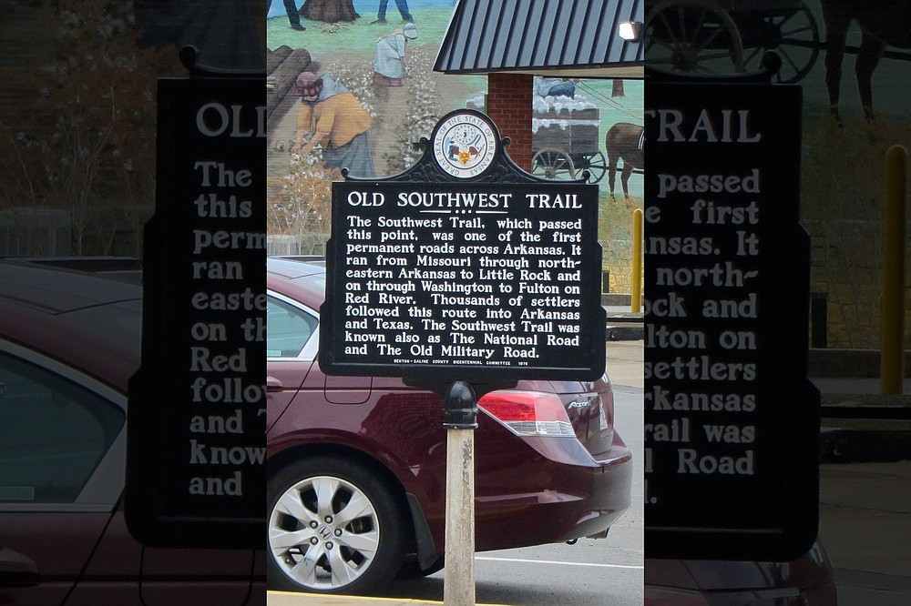 A downtown marker commemorates the passage of the Southwest Trail through Benton. (Special to the Democrat-Gazette/Marcia Schnedler)