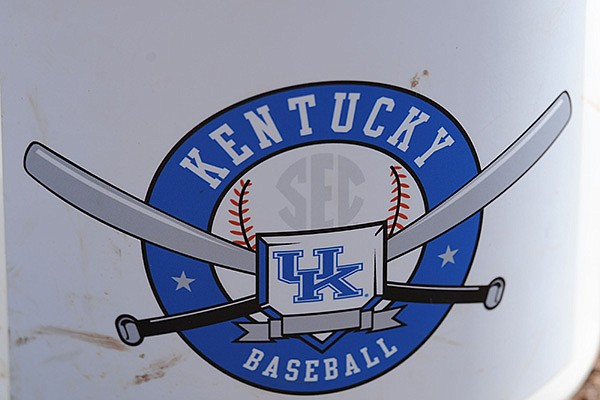 A Kentucky baseball logo is shown during a game against Arkansas in Fayetteville.