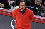 Georgia coach Tom Crean talks to his team as they play Arkansas during the second half of an NCAA college basketball game Saturday, Jan. 9, 2021, in Fayetteville. (AP Photo/Michael Woods)