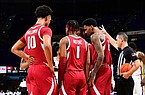 Arkansas players huddle during a game at LSU on Jan. 13, 2021, at the Pete Maravich Assembly Center in Baton Rouge, La. (Photo by Beau Brune via SEC, Pool)