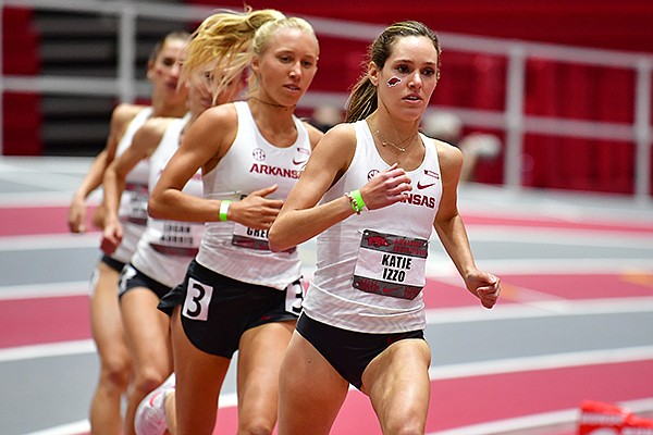 Arkansas' Katie Izzo leads a pack of runners during the Arkansas Invitational on Saturday, Jan. 16, 2021, at Randal Tyson Track Center in Fayetteville.
