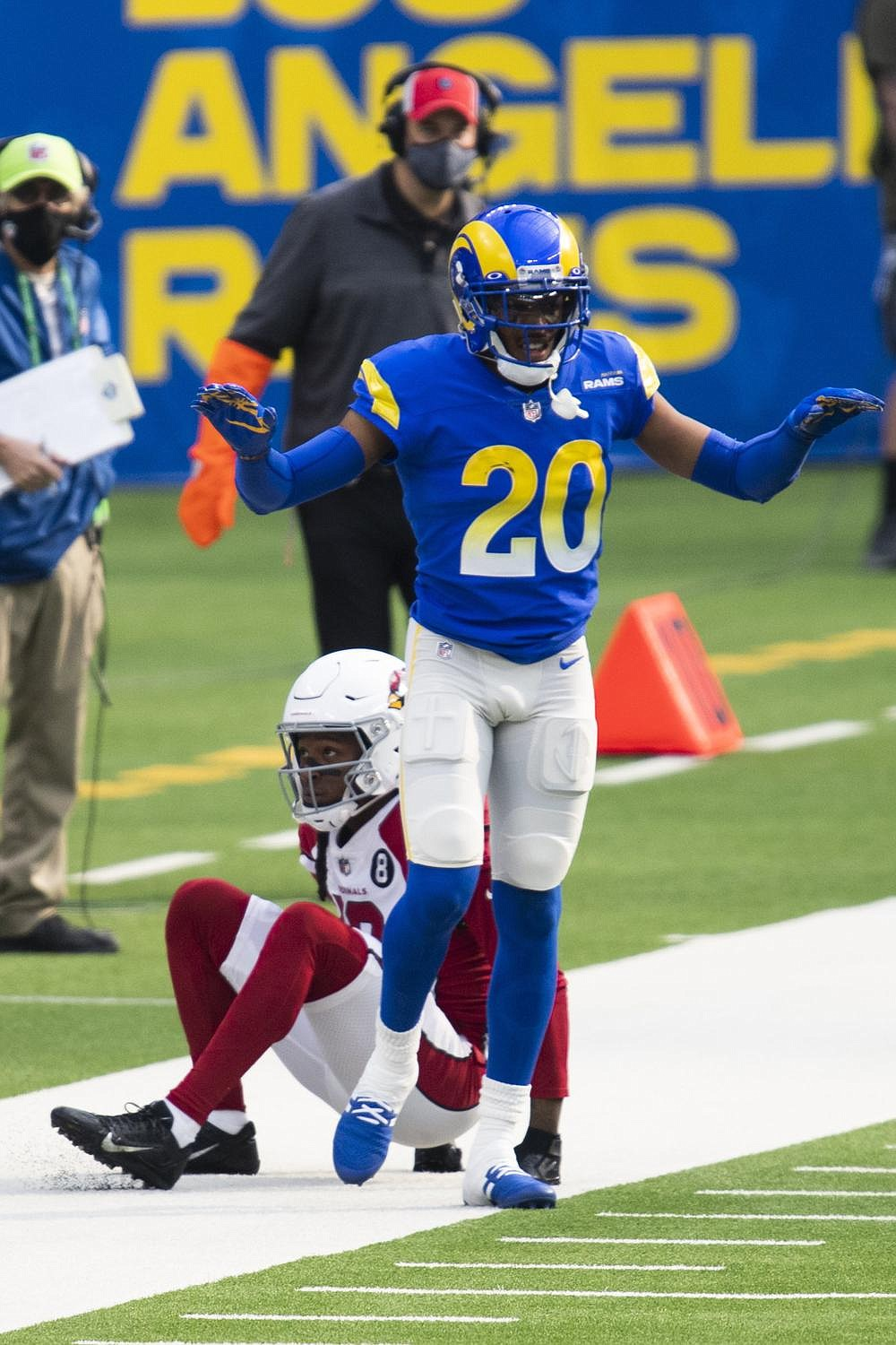 Los Angeles Rams cornerback and All-Pro selection Jalen Ramsey is used to going up against the top receivers in the NFL. But Ramsey will have his toughest challenge of the season today against Green Bay's Davante Adams, who has a league-high 18 touchdown receptions this season. (AP/Kyusung Gong)