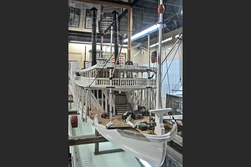 A 14-foot-long model of the Sultana is a centerpiece of the present disaster museum. (Special to the Democrat-Gazette/Marcia Schnedler)