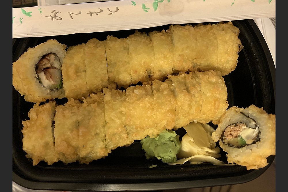 Can you tell at first glance between the Yummy Yummy Roll and the Oh My God Roll from Samurai Steakhouse & Sushi Bar? We couldn't. (Arkansas Democrat-Gazette/Eric E. Harrison)