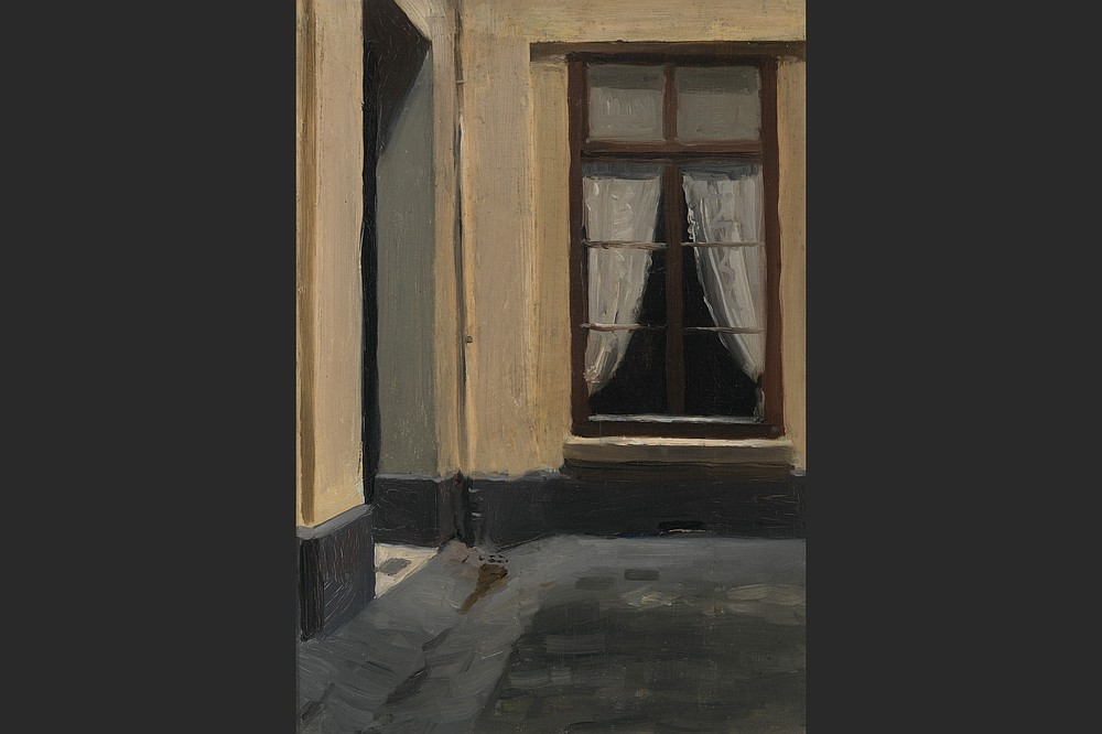 """Edward Hopper's earliest paintings of the French city featured liminal spaces. In """"(Interior Courtyard at 48 rue de Lille, Paris)"""" (1906), the drawn curtain reveals only darkness. (Whitney Museum of American Art/Josephine N. Hopper Bequest)"""