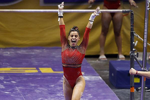 Arkansas gymnast Sophia Carter competes during an NCAA gymnastics meet against LSU on Friday, Jan. 8, 2021 in Baton Rouge, La. (AP Photo/Tyler Kaufman)