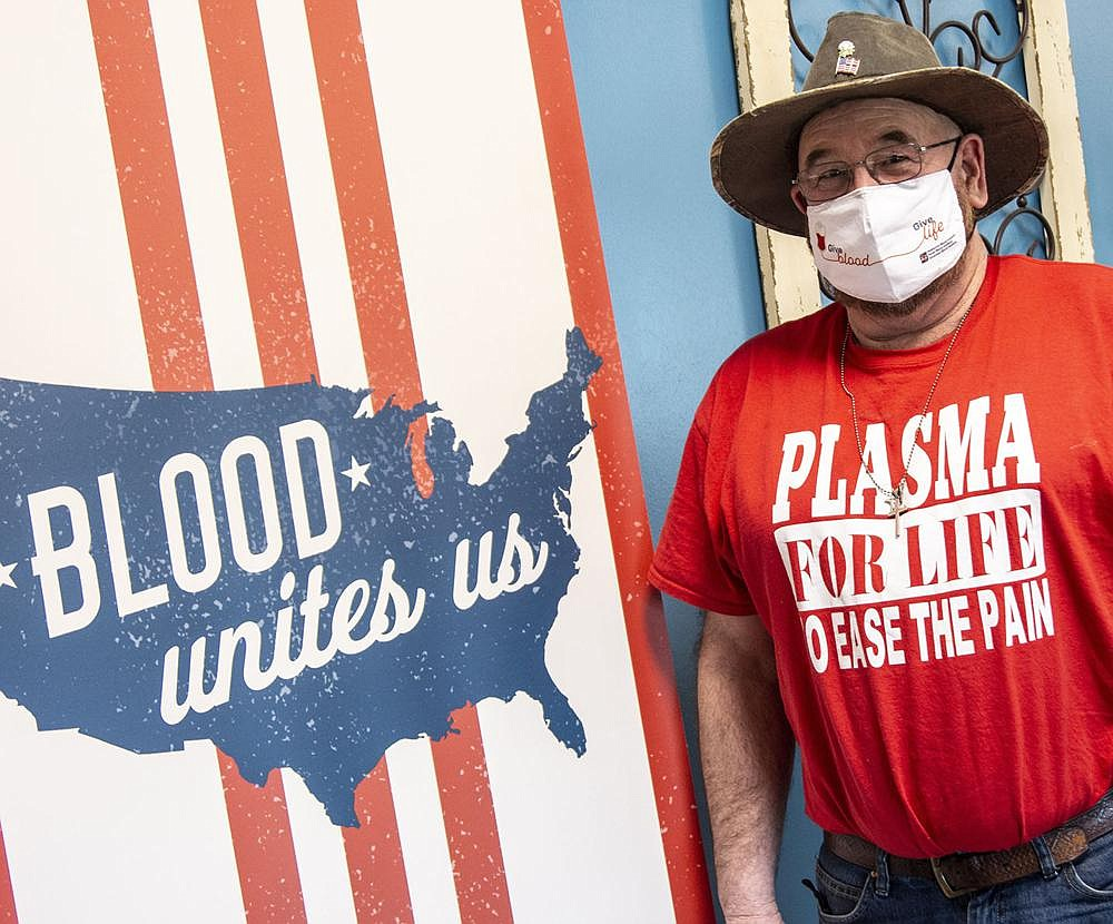Covid-19 survivor Keith Perkins says making plasma donations is critical in the fi ght against the deadly virus. He plans to make his 20th plasma donation on Feb. 5. (Arkansas Democrat-Gazette/Cary Jenkins)