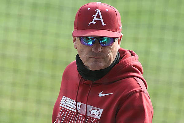 Arkansas coach Dave Van Horn is shown during a scrimmage Friday, Jan. 29, 2021, in Fayetteville.