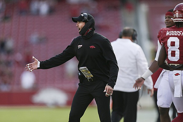 Arkansas offensive coordinator Kendal Briles is shown during a game against Ole Miss on Saturday, Oct. 17, 2020, in Fayetteville.